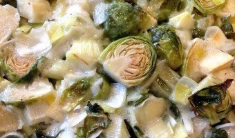 Roasted Brussels Sprouts, Leeks & Apple