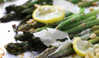 Roasted Asparagus with Manchego and Pine Nuts