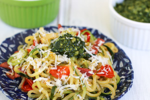 Spicy Zucchini Pasta with Pesto