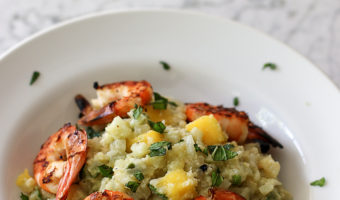 Coconut Cauliflower Rice Salad with Grilled Shrimp