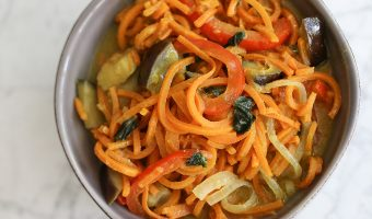 Green Curry Sweet Potato Noodles with Eggplant