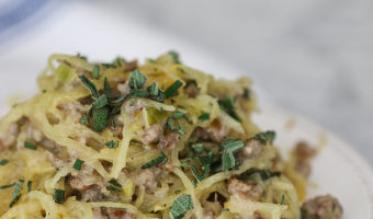 Spaghetti Squash with Sausage, Leek, and Sage Sauce